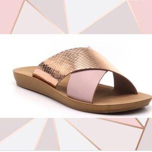 ROSE GOLD and Blush Vegan Leather Slide Sandals